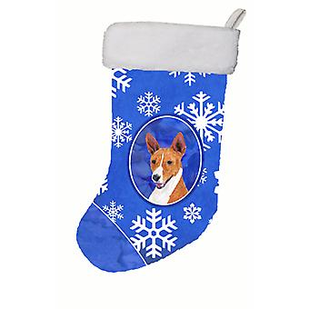 Basenji Winter Snowflakes Christmas Stocking SC9387