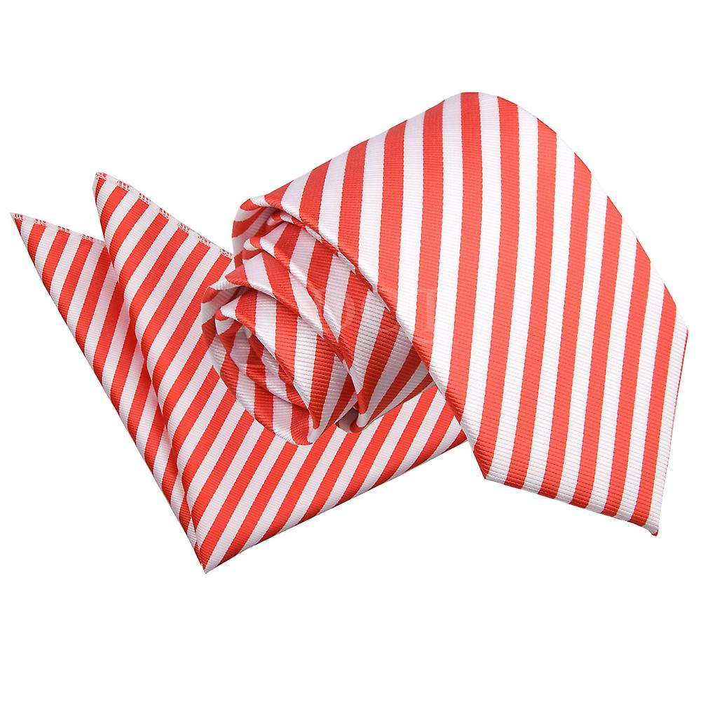 White & Red Thin Stripe Tie 2 pc. Set
