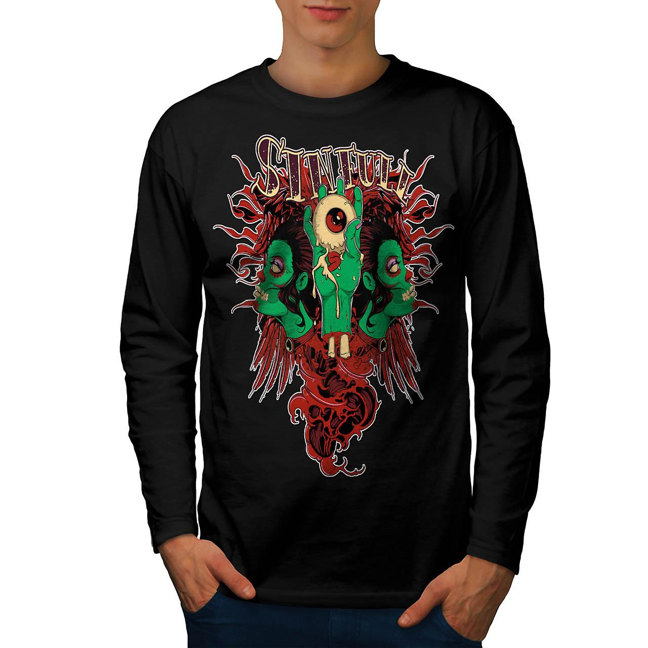 Sinful Monster Head Devil Eye Men Black Long Sleeve T-shirt | Wellcoda