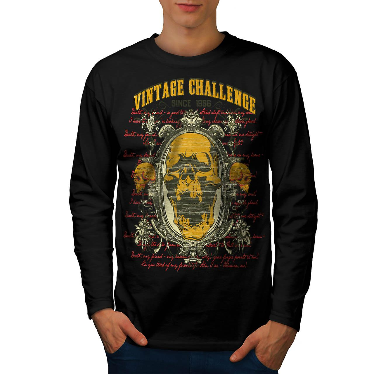 Vintage Challenge USA Skull Head Men Black Long Sleeve T-shirt | Wellcoda
