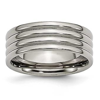 Titanium Grooved 8mm Polished Band Ring - Size 12.5