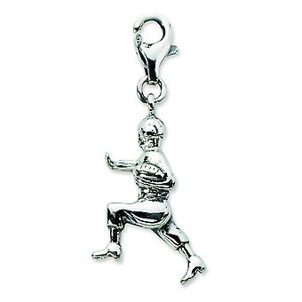 Chiusura aragosta fantasia finitura argento anticato 3. d anticato Football Player With Lobster Clasp fascino - misure 33