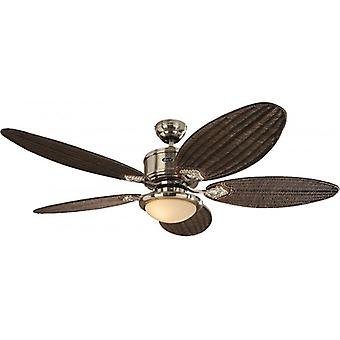 DC ceiling fan Eco Elements Chrome brushed with antique cane blades, light and remote control