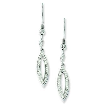 Argento Pave pastore gancio rodiato e Cubic Zirconia fantasia Dangle Earrings