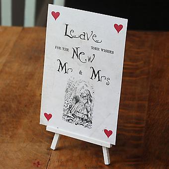 Alice in Wonderland Vintage Style 'Leave Your Wishes' Sign And Easel -Wedding Guest Book