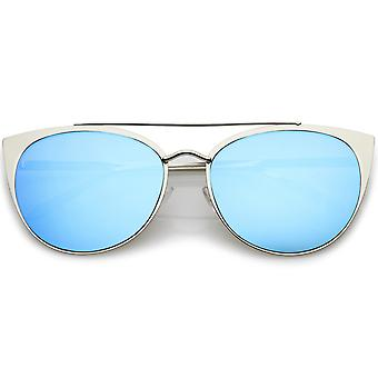 Women's Oversize Metal Crossbar Mirrored Flat Lens Cat Eye Sunglasses 61mm