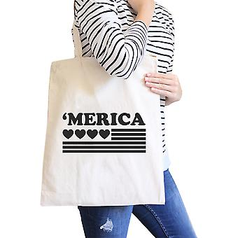 Heart 'merica Natural Canvas Tote Cute American Flag Canvas Bag