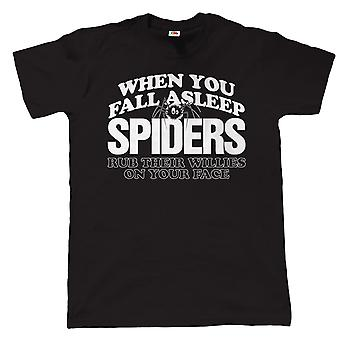 Vectorbomb, når du falder i søvn edderkopper, Herre sjov T Shirt (S til 5XL)