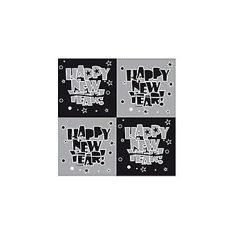 Silvester Deko napkins 20 PCs silver of black happy new year