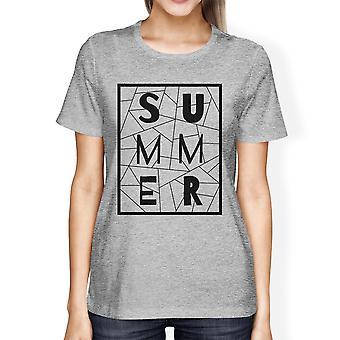 Zomer geometrische belettering Womens grijs Tshirt katoen Trendy Design