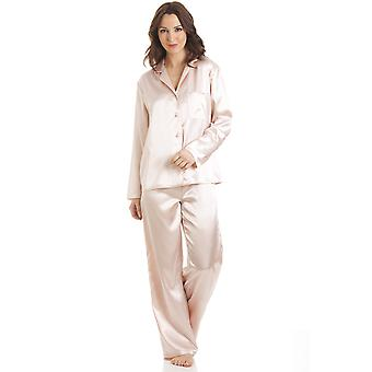 Camille Peach Satin Full Length Pyjama Set