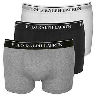 بولو رالف لورين القطن حزمة الثلاثي تمتد الملاكم جذوع، أسود/أبيض/رمادي