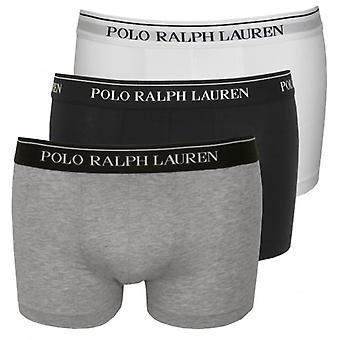Polo Ralph Lauren katoenen Stretch Triple Pack Boxer Trunks, zwart/wit/grijs