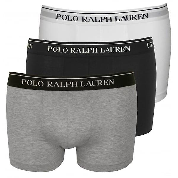 Polo Ralph Lauren Cotton Stretch Triple Pack Boxer Trunks, Black/White/Grey