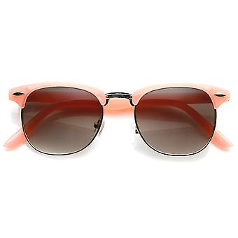 Pastel Color Semi-Rimless Half Frame Horn Rimmed Sunglasses