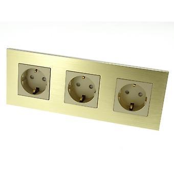 I LumoS Luxury Gold Brushed Aluminium Frame Schuko EU 16A German Triple Socket
