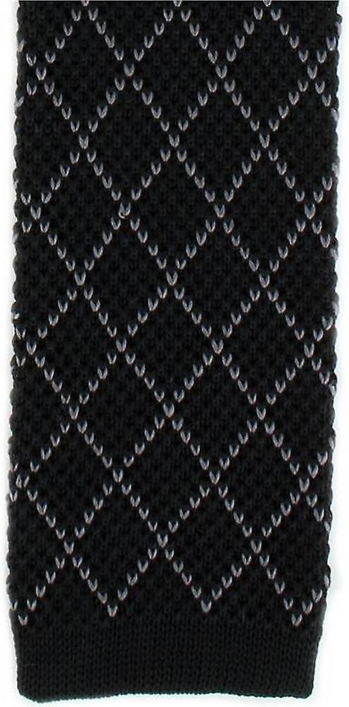Michelsons of London Diamond Silk Knitted Skinny Tie - Black/Charcoal