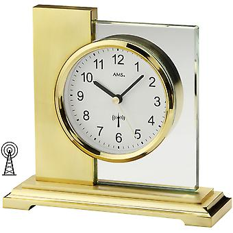 Radio-controlled clock table clock radio metal housing with ground mineral glass