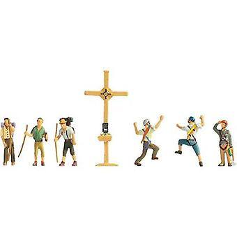 NOCH 15874 H0 Figures mountain wanderers with peak cross