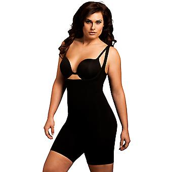Womens Body Wrap Shapewear Fuller Figure Black Thigh Slimmer Bodysuit 45305