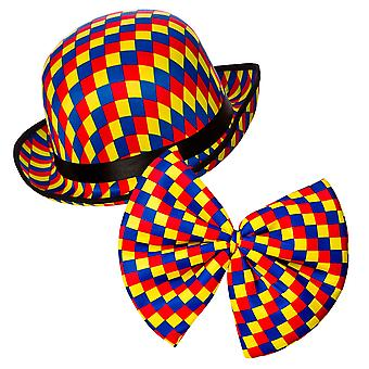 Clown Bowler Hat & Bow Tie for Adults Clown Fancy Dress Costume & Accessory