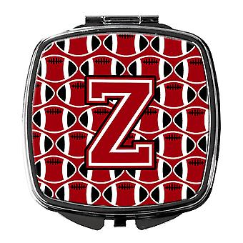 Letter Z Football Red, Black and White Compact Mirror