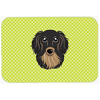 Checkerboard Lime Green Longhair Black and Tan Dachshund Mouse Pad, Hot Pad or T