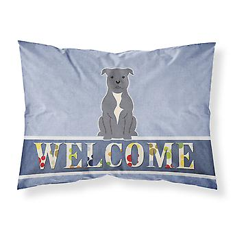 Staffordshire Bull Terrier Blue Welcome Fabric Standard Pillowcase