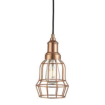 Searchlight 6847CU Bell Cage Ceiling Pendant Light In Copper