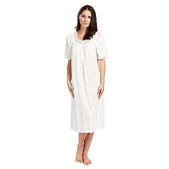 Feraud 3883040-10044 Women's Champagne White Cotton Night Gown Loungewear Nightdress