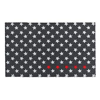 Doormat dirt trapping pad of five stars black white red 50 x 70 cm