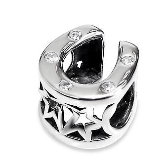 Horseshoe - 925 Sterling Silver Jewelled Beads