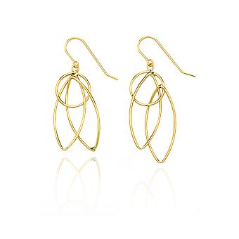 14k Yellow Gold Pointing Oval and Circle Dangling Drop Earring in Gift Box
