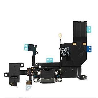 iPhone 5S Dock Connector laddning Port + hörlurar Jack Flex kabel svart