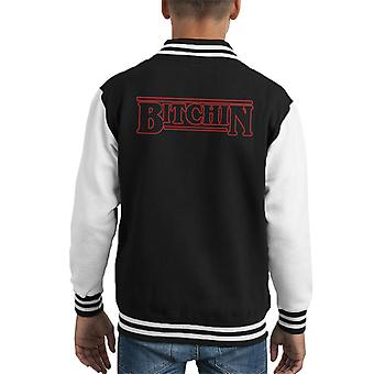 Stranger Things Title Text Bitchin Kid's Varsity Jacket