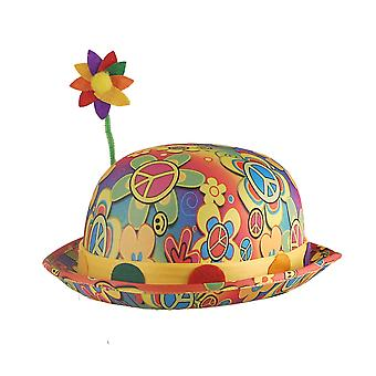 Adult Multi Coloured Hippie/Clown Bowler Hat With Flower