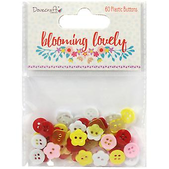 Dovecraft Blooming Lovely Plastic Buttons 60/Pkg- DCBTN018
