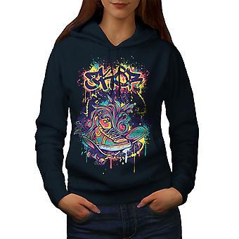 Fashion Graffiti Street Women NavyHoodie | Wellcoda