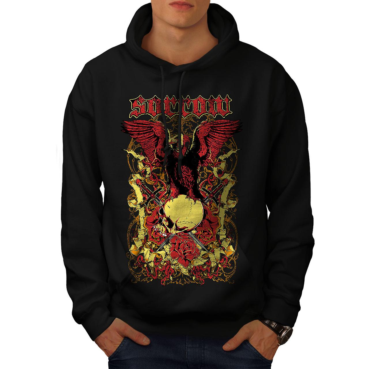 Sorrow Eagle Rose Skull Men Black Hoodie | Wellcoda