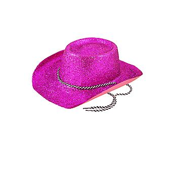 Fuschia Pink Glitter Cowboy Hat With Tie Fancy Dress Accessory