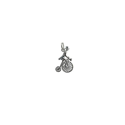 Silver 22x15mm Penny Farthing with rider in top hat Charm or Pendant