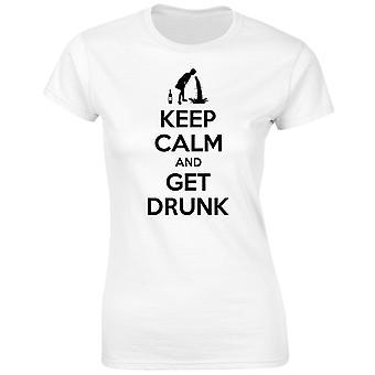 Mantener la calma y llegar borracho mujeres camiseta 8 colores (8-20) por swagwear