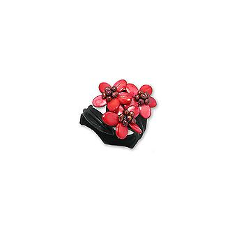 3 flowers in mother of pearl bracelet and beads red and black leather