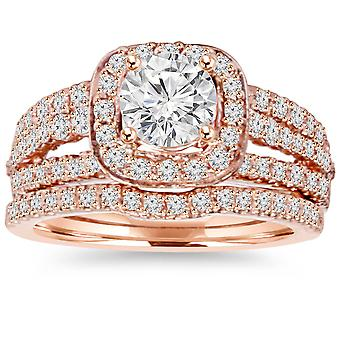 1.50CT kussen Halo Diamond Engagement Ring Set 14K Rose Gold