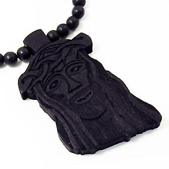 Wood style Jesus Bead Necklace - black