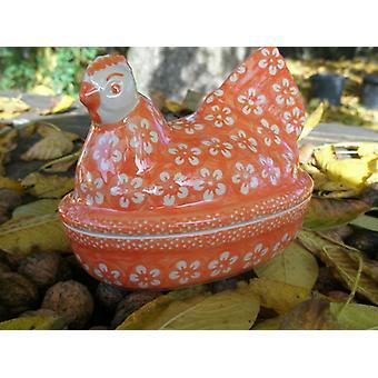 Pollo como huevo, opción 2, 17 x 11 cm, alto 14 cm, naranja de Bolesławiec, BSN m-4378