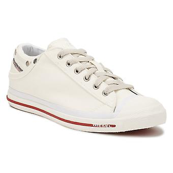 Diesel Mens Bright White / Red Textile Exposure Low Trainers
