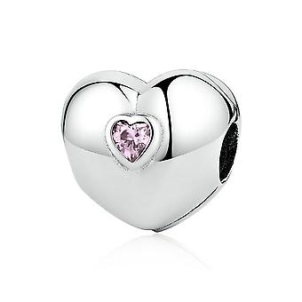 Sterling silver clip Heart with pink zirconia PSC034