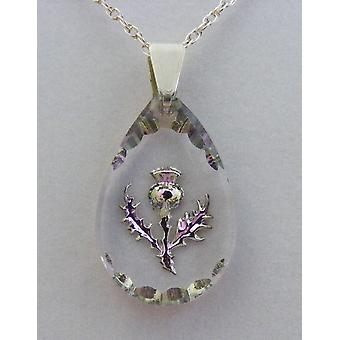 Heather Small Teardrop Thistle Crystal Pendant