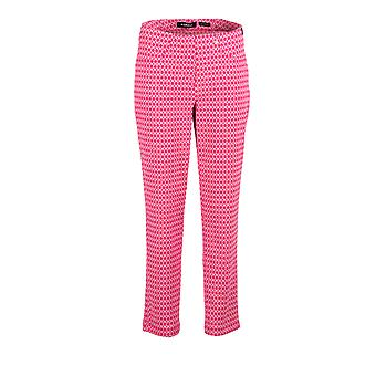 Robell Bella Jacquard Print Trousers in Pink